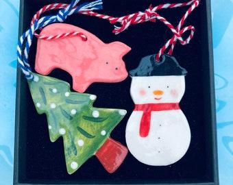 Christmas Tree Decoration set.Snowman ,Christmas Tree and Pig Hanging Porcelain Decorations.Handmade ceramic Christmas decoration