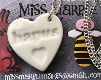 Hapus Ceramic Heart Pendant.Hapus/Happy.Welsh Love Heart Necklace .Porcelain Heart Pendant.Gift idea Handmade in Wales,Uk