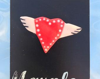 Ceramic Heart Brooch.Winged Love Heart Brooch/pin/button/badge.Ceramic/Porcelain .Valentines heart.Handmade in Wales ,Uk
