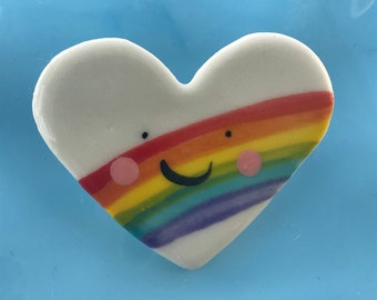 Rainbow Heart Badge.Love Heart Brooch/pin/button/badge.Ceramic/Porcelain .Rainbow Jewellery.heart.Handmade in Wales ,Uk