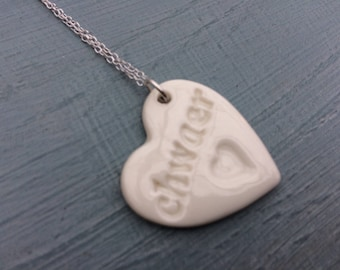 Chwaer Ceramic Heart Sterling Silver Pendant.Chwaer/sister.Welsh Love Heart Necklace .Porcelain Heart Pendant.Welsh Language .Handmade in uk