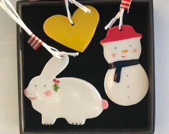 Christmas Tree Decoration set.Snowman,Christmas White Rabbit and yellow heart Porcelain tree Decorations.Handmade hand painted in Wales uk.