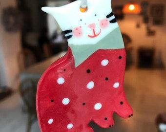Cat Ceramic Decoration.Different Colours.Hanging Ceramic Cat Decoration/ornament.Christmas Tree Decoration.Cat lover Decoration .
