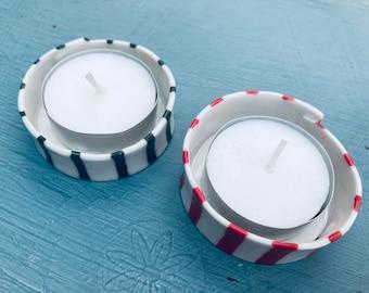 Ceramic Christmas Tea Light Holder .Porcelain Red or green stripes candle holder .Christmas Tea light.Scandinavian Christmas gift