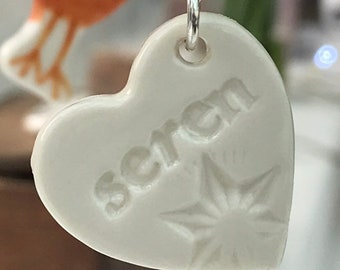 Seren Ceramic Heart Sterling Silver Pendant.Welsh Love Heart Necklace .Porcelain Heart.Seren/Star.Gift idea.Handmade.Wales,Uk