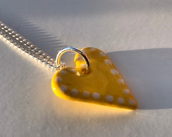 Yellow heart pendant necklace.Ceramic/Porcelain .love Heart Necklace.Valentine gift.Love Token.Handmade in Wales,Uk.