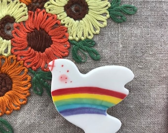 Rainbow Dove Badge.Peace Dove Brooch/pin/button/badge.Ceramic/Porcelain .Rainbow Jewellery.peace badge.Handmade in Wales ,Uk