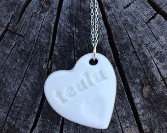 Teulu Ceramic Heart Sterling Silver Pendant.Welsh Love Heart Necklace .Porcelain Pendant.teulu/Family.Gift idea.Handmade.Wales,Uk