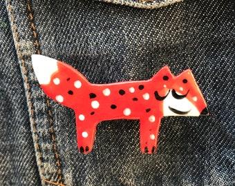 Red Fox Brooch/pin/button/badge.Ceramic/Porcelain.Fox badge .Animal badge.Handmade.Woodland.Made in Wales,Uk