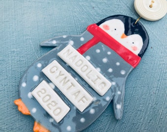 Nadolig Cyntaf 2020 Baby Penguin Decoration.Baby's First Christmas.Welsh baby gift. Welsh language gift .Handmade in Wales ,Uk