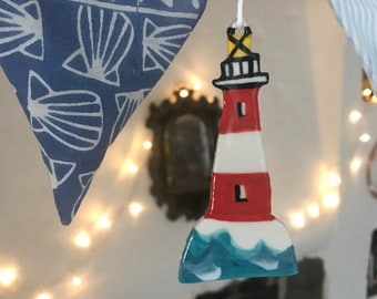 Lighthouse Decoration.Ceramic Nautical Decoration.Seaside porcelain Ornament.Handmade summer gift.