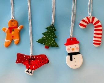 Christmas Ceramic Pendant.Snowman/robin/tree/gingerbreadman/candy cane Porcelain Pendant.Christmas Gift idea.All ages Xmas gift