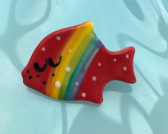 Rainbow Fish Brooch/pin/button/badge.Ceramic/Porcelain.Animal badge.Seaside jewellery.Rainbow.Handmade in Wales ,Uk