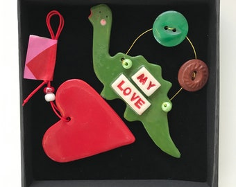 Valentines Dinosaur and Heart Decorations.Romantic Hanging Ceramic  Decoration.Love  Heart.Romantic Gift.Handmade in uk