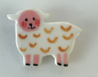 Lamb Brooch/pin/button/badge.Ceramic/Porcelain.Sheep badge.Cute animal jewellery.Welsh badge.Handmade in Wales ,Uk