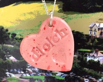 Diolch Ceramic Heart Pendant.Welsh Thankyou Gift .Porcelain Heart Pendant .Diolch/Thankyou Gift from Wales.Welsh Language.Best Teacher.