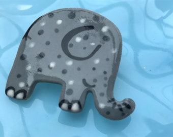 Elephant Brooch/pin/button/badge.Ceramic/Porcelain .Cute Elephant badge.Handmade in Wales ,Uk