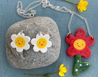 Happy Flower Earrings and  Pendant Set. Porcelain flower pendant.Sterling Silver earrings.Cute fun gift set.Handmade ceramic jewellery.