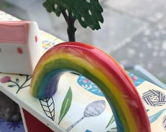 Ceramic Rainbow.Mini Porcelain Rainbow figure .Rainbow ornament.Desk top ornament.Handmade in Wales ,Uk