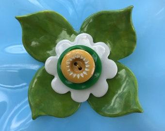 Porcelain Green/white Flower Brooch/pin/button/badge.Ceramic/Porcelain.Big brooch for jacket.Vintage button.Handmade in Wales ,Uk