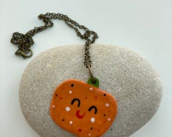 Pumpkin Pendant /Happy Halloween Jewellery /Handmade Porcelain Pumpkin Pendant/Made in Wales,Uk