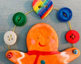 Large Gingerbread Man Decoration.Hanging Ceramic Gingerbread Man.Tree Decoration .Wire with Buttons .Porcelain ornament