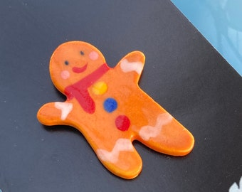Gingerbread Man Badge.Stocking filler.Porcelain christmas badge.Small Christmas gift.Handmade in wales uk