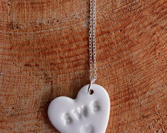 Sws Ceramic Heart Sterling Silver Pendant.Welsh Love Heart Necklace .Porcelain Pendant.Sws/Kiss.Gift idea.Handmade.Wales,Uk