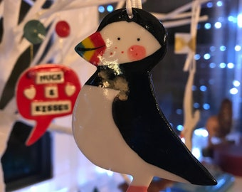 Puffin Decoration .Hanging Puffin Ornament .Ceramic/Porcelain Animal Decoration.Christmas Tree Decoration .Handmade in Wales,Uk