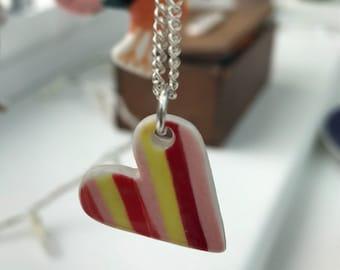 Seaside Ceramic Heart Pendant Heart Necklace Porcelain Pendant Seaside stripes Gift idea Handmade Made in Wales,Uk.