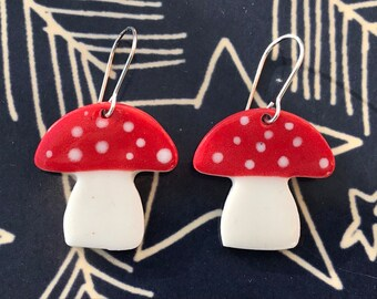 Toadstool earrings.Sterling silver.porcelain mushroom dangling earrings.31 mm drop.Ceramic Jewellery gift.Handmade in Wales,UK.