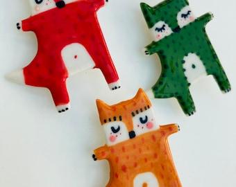 Standing Fox Brooch/pin /button /badge.Fox Badge.Ceramic/Porcelain Animal badge/Animal Jewellery Made in Wales,Uk