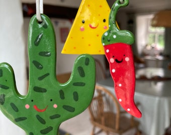 Cactus,tortilla chip and Chilli Decoration.Mexican Theme Decorations.Housewarming gift.Ceramic tree Decorations.
