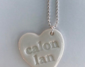 Calon Lan Ceramic Heart Pendant on Sterling Silver ball chain.Calon Lan.Welsh Love Heart Necklace .Porcelain Heart Pendant.Welsh Language