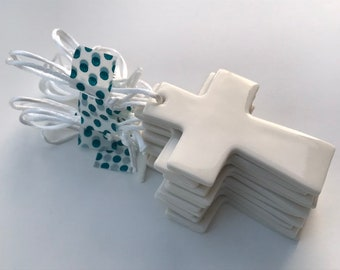 Porcelain Cross.Christian gift.Christening Gift.Baptism gift.Hanging Ceramic Cross.Ceramic Decoration/ornament.Handmade in Wales.