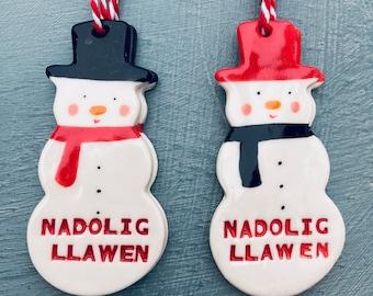 Nadolig LlawenSnowman Decoration .Welsh Decoration.Christmas tree decorations/ornament.Stocking Filler.Hand painted.Welsh Language