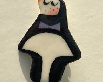 Penguin Badge.Animal Jewellery .Stocking filler.Porcelain christmas badge.Handmade in wales uk
