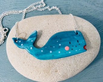 Whale Pendant necklace .Ceramic/Porcelain whale necklace.Seaside Jewellery.Handmade Ceramic pendant.Cute quirky gift.
