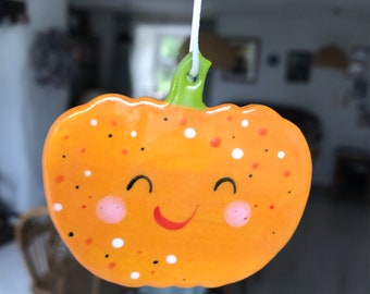 Pumpkin Decoration.Porcelain Hanging Smiley Pumpkin Decoration.Autumn/Halloween decoration/kitsch decorations.Handmade ceramic ornament.