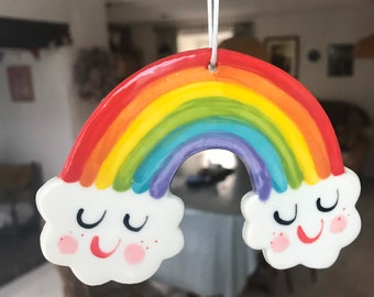Large Rainbow Ceramic Window Decoration/Porcelain Hanging ornament.Baby gift.Porcelain Rainbow Decoration/Clouds.Rainbow.Made in Wales,Uk