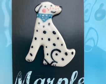 Dalmation Dog Brooch/pin/button/badge.Dog Lover Gift/Ceramic /Porcelain .Animal Badge/animal jewellery.Handmade in Wales ,Uk