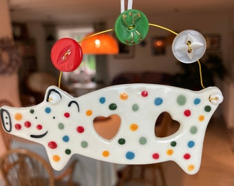 Love heart Pig Decoration.Ceramic Spotty Pig .childs mobile hangers /ceramic /Porcelain.Pig  Ornament.
