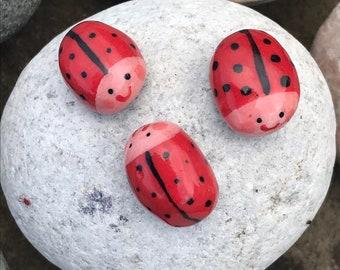 Ceramic ladybird figures.group of 3 small ladybird desktop ornaments.Ladybird/ladybug.Handmade Porcelain mini ornaments.