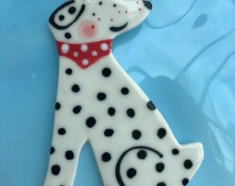 Dog Decoration.Hanging Ceramic Decoration/ornament.Dalmatian Decoration.Dog Lover gift.Handmade porcelain Dalmatian