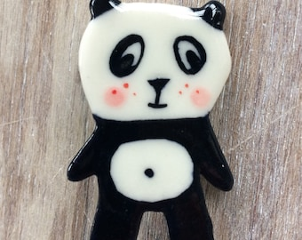Panda Brooch/pin/button/badge.Ceramic/porcelain .Animal jewellery.Handmade.Made in Wales,Uk