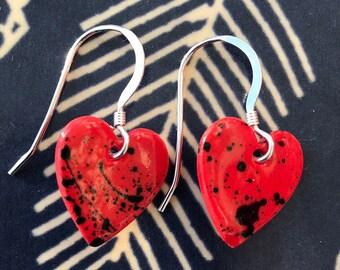 Red heart earrings.Sterling silver.porcelain heart dangling earrings.26 mm drop.Valentines/Christmas gift.Handmade in Wales,UK.