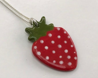 Strawberry Pendant Necklace .Ceramic/porcelain Pendant .Summer Jewellery .Handmade.Made in Wales,Uk