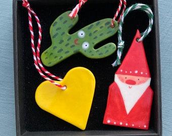 Christmas Tree Decoration set.Father Christmas,Yellow heart and Cactus Hanging Porcelain Decorations.Handmade ceramic Christmas gift Box set