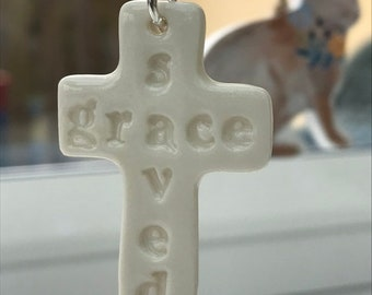 Porcelain Cross Pendant Necklace.Cross Pendant .Christian gift.Ceramic Cross Necklace.Handmade in Wales.
