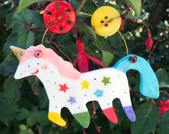 Rainbow Unicorn Decoration.Hanging Ceramic Decoration/ornament.Porcelain Unicorn .Gold Lustre.Gift for Girl.Handmade in uk